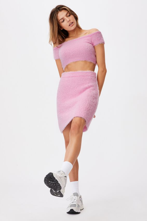 Fluffy Knit Mini Skirt, BABE PINK