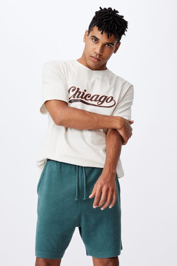 Reverse Fleece Track Short, WASHED PINE TEAL