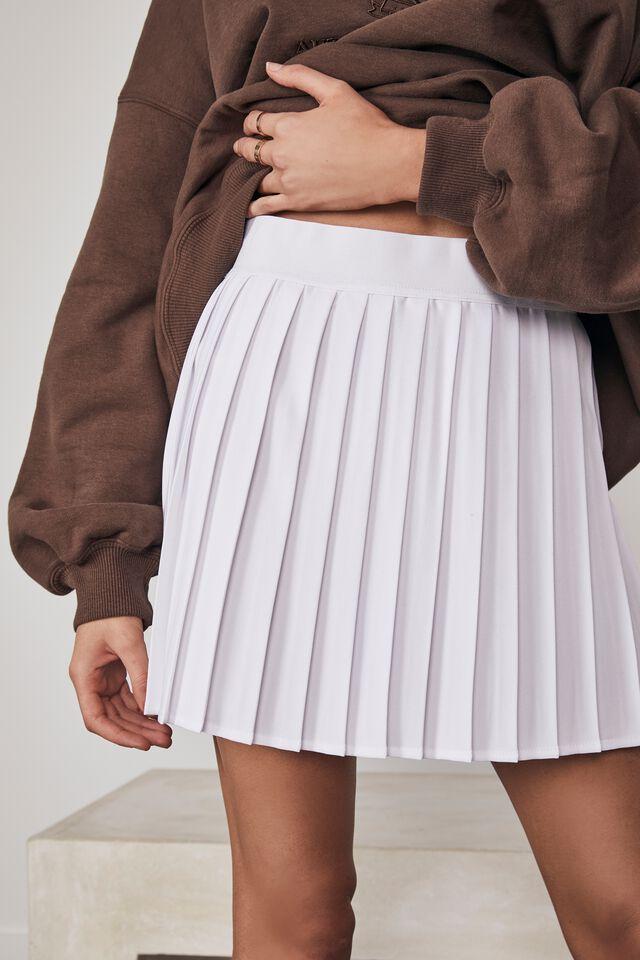 Mini Pleat Skirt, WHITE