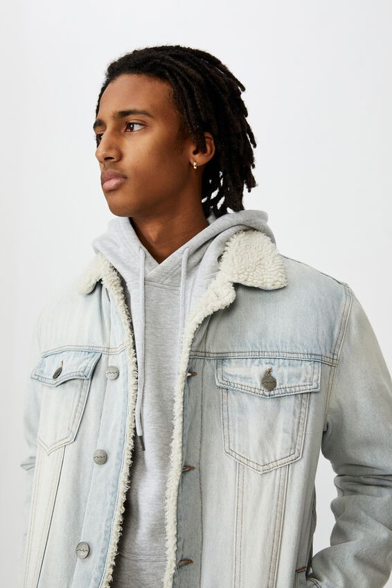 Denim Sherpa Jacket, BLEACHED BLUE