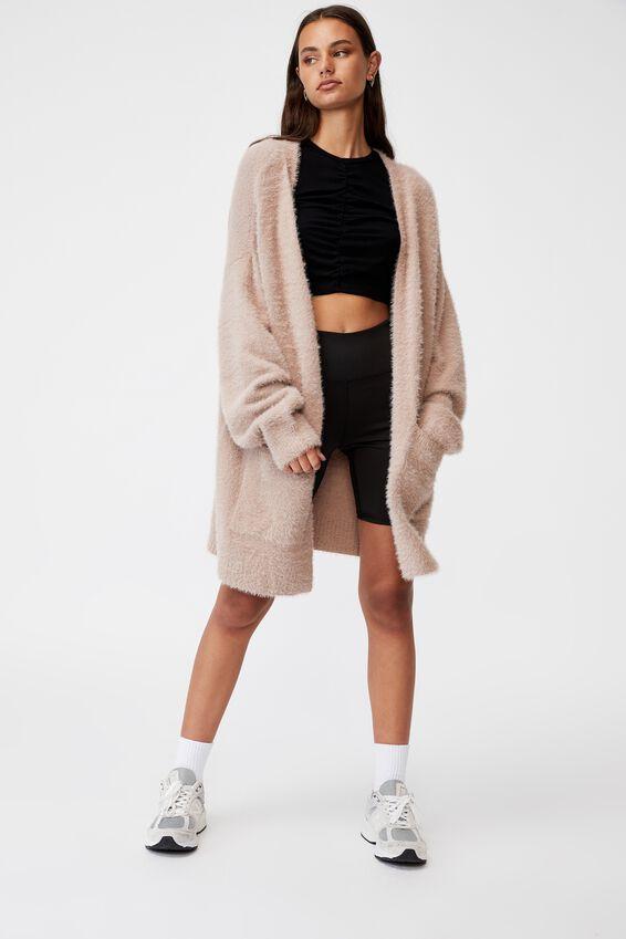 Fluffy Knit Longline Cardigan, DIRTY BLUSH