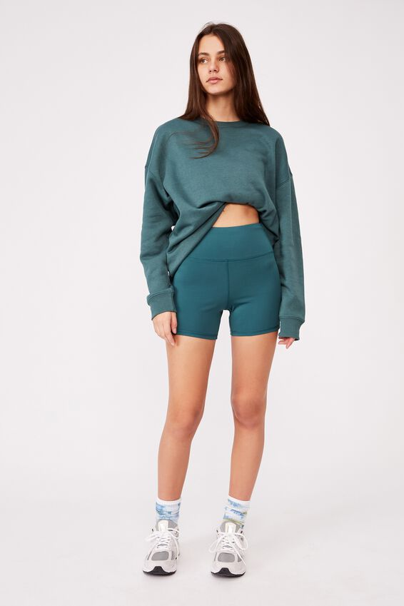 Cheeky Elevated High Waisted Bike Short, STORMY GREEN