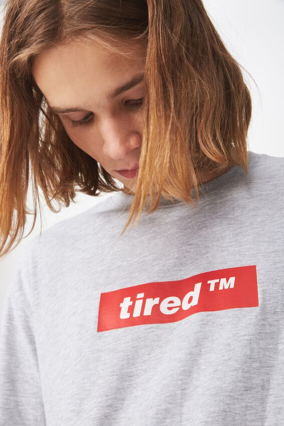 Graphic T Shirt., LIGHT GREY MARLE/TIRED