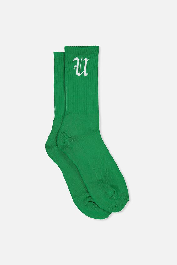 Retro Ribbed Socks, SOLID GREEN FU