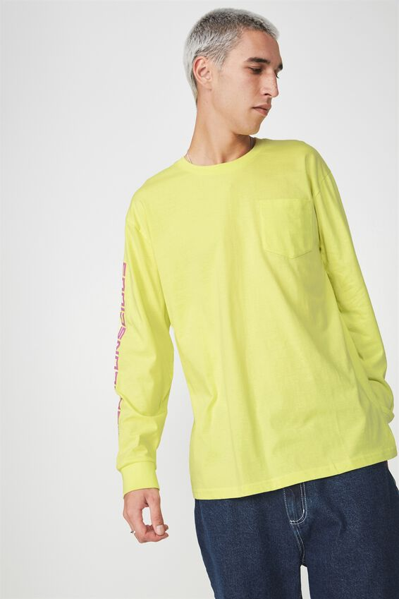 Ls Pocket T Shirt, LIME/SUBCONSCIOUS