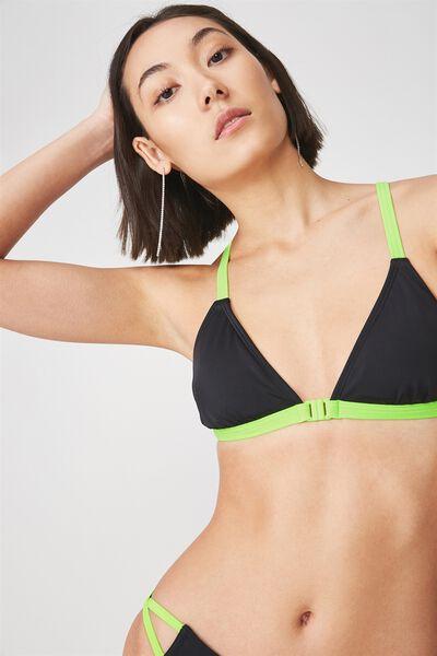 Cross Back Triangle Bikini Top, BLACK/NEON GREEN