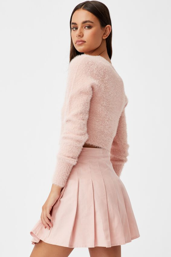 Fluffy Knit Slim Fit Cardi, SILVER PINK