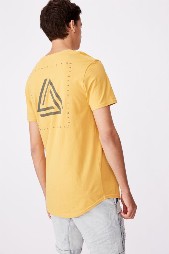 Curved Graphic T Shirt, CHEDDAR/BAD SIGNS