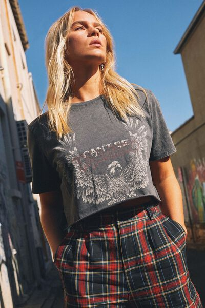 Short Sleeve Raw Edge Crop T Shirt, WASHED ASPHALT/CAN'T BE TAMED