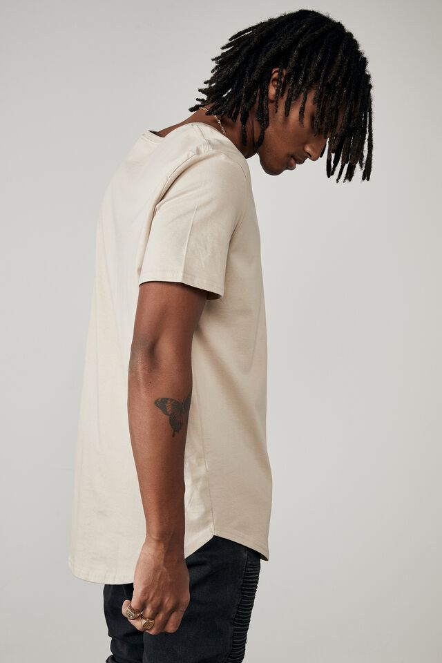 Curved T Shirt, BEIGE