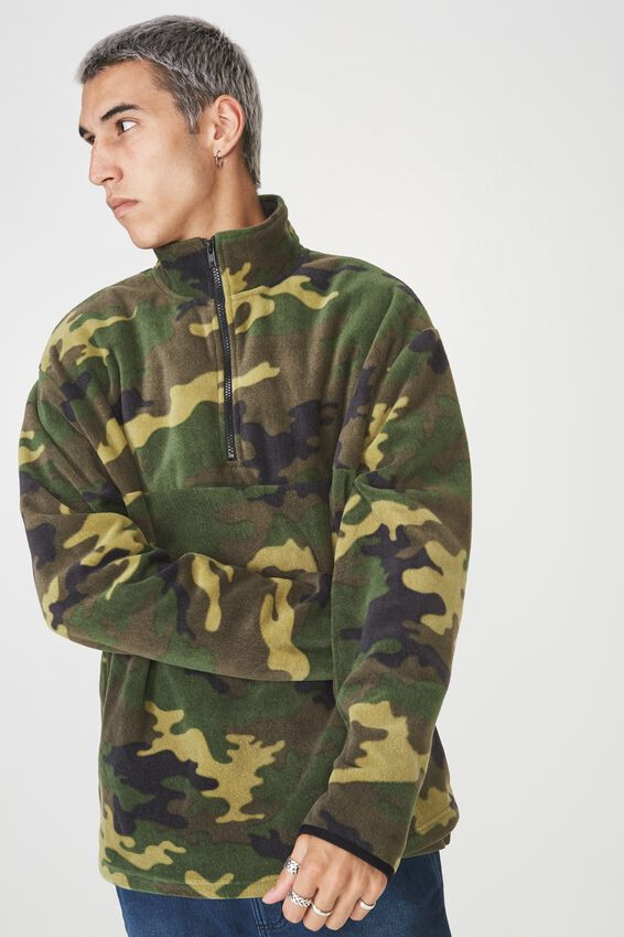 Qtr Zip Polar Fleece, CAMO