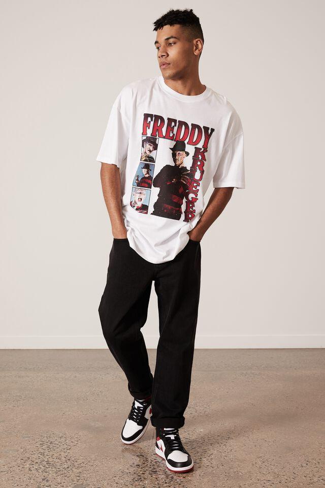 Oversized Halloween T Shirt, LCN WB WHITE/FREDDY HOMAGE