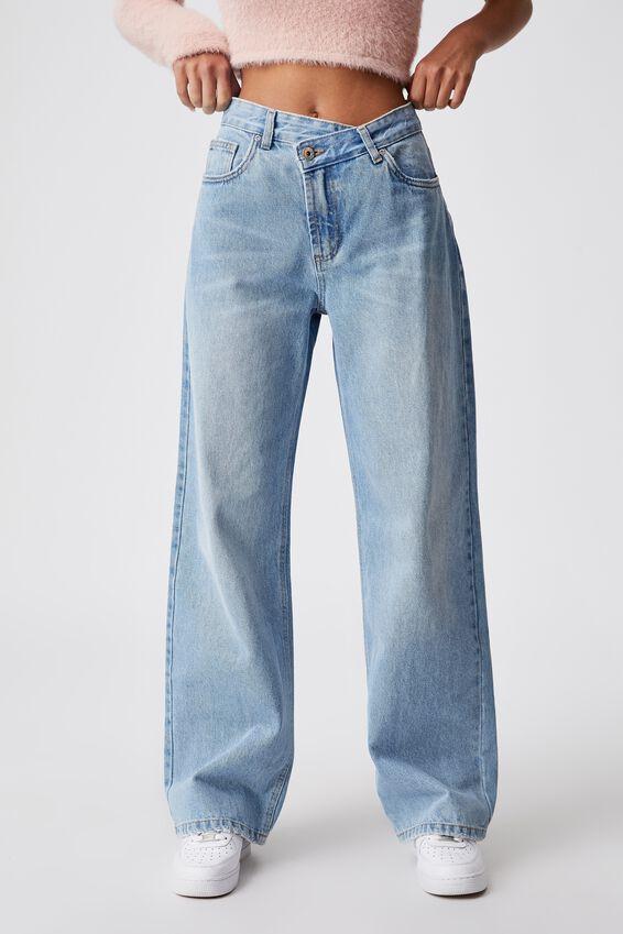 Asymetrical Waist Jean, 90 S BLUE