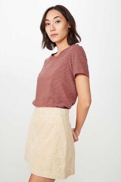Basic T Shirt Stripe, LILIA STRIPE_RED OCHRE