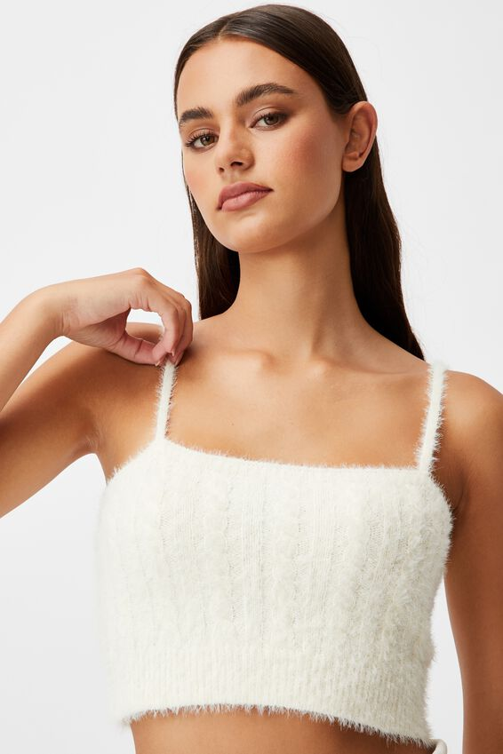 Fluffy Knit Cable Cami, IVORY