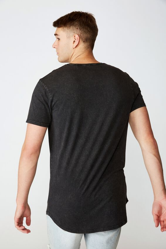 Curved Graphic T Shirt, WASHED BLACK OUTLAW