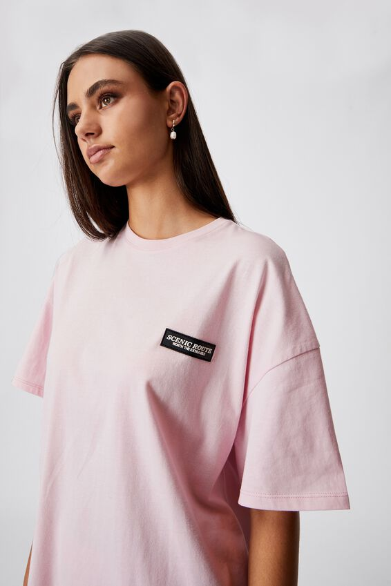 Super Relaxed Graphic Tee, LILAC SNOW/SCENIC ROUTE