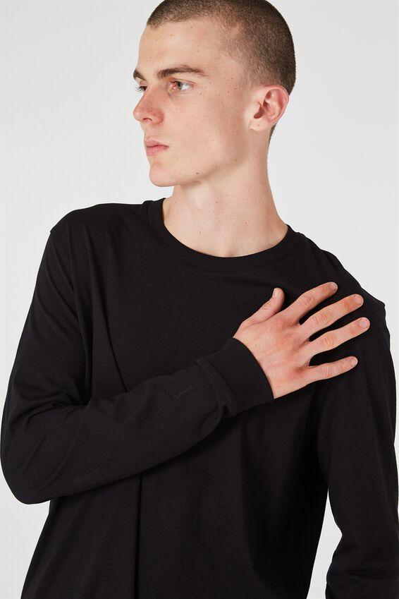Slim Long Sleeve T Shirt, BLACK