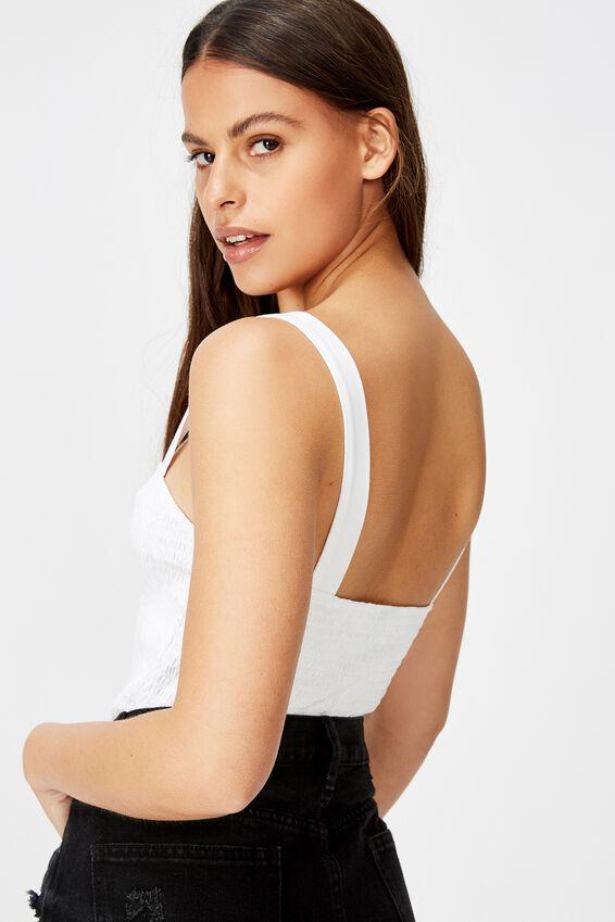 Sweetheart Neck Shirring Singlet, WHITE