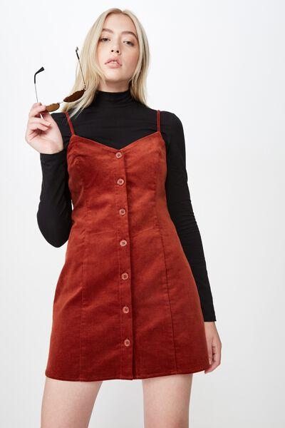 Cord Button Through Dress, GINGER