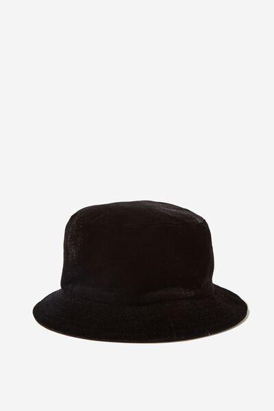 Velour Bucket Hat, BLACK