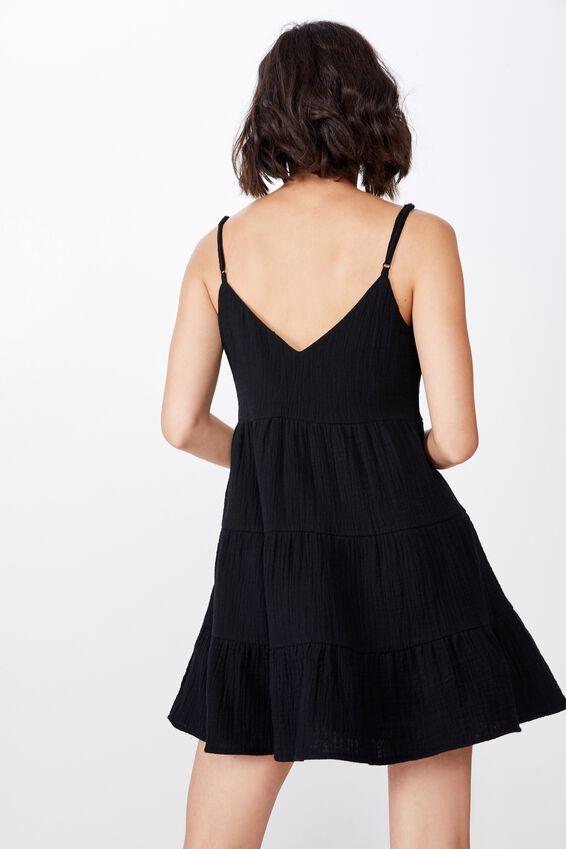 Tiered Dress, BLACK