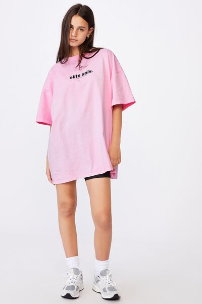 Graphic T Shirt Dress, BABE PINK/ELITE UNIV