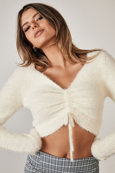 Fluffy Knit Pull Front Top, IVORY
