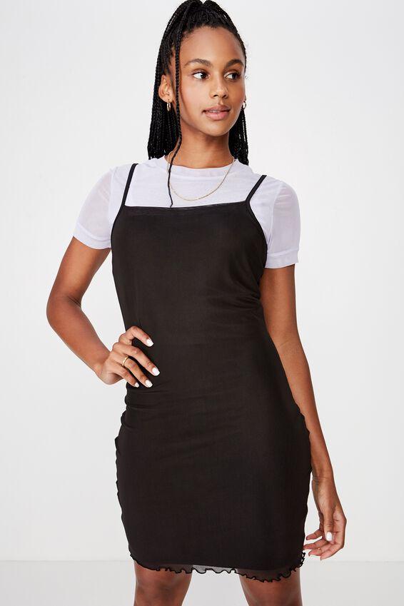 Mesh Mini Dress, BLACK