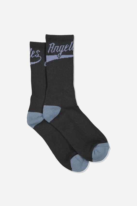 Retro Ribbed Socks, LOS ANGELES