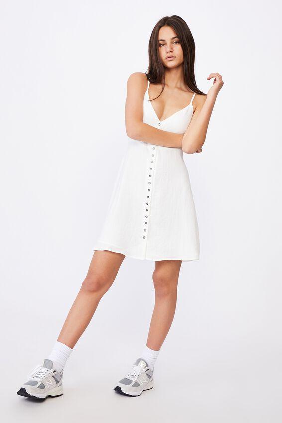 Button Through Dress, WHITE