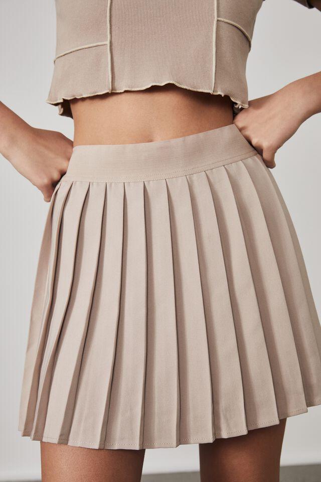 Mini Pleat Skirt, BROWN MUSHROOM