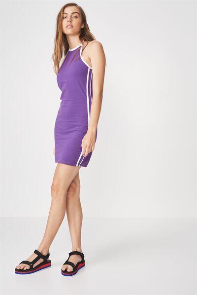 Cut Away Mini Dress, PANSY_WHITE TAPE