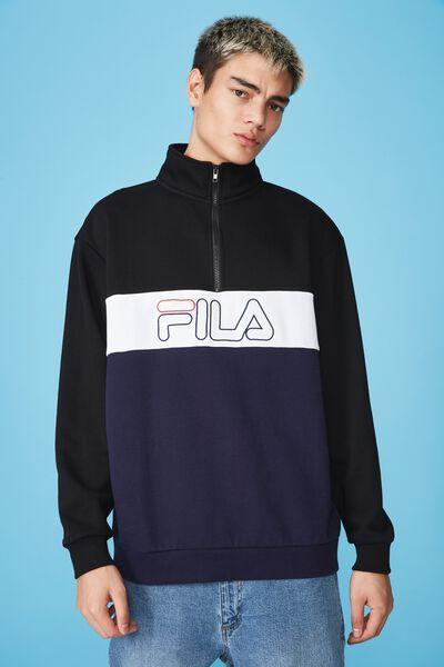 Fila Lcn Qtr Pannelled Fleece, NAVY/BLACK/WHITE