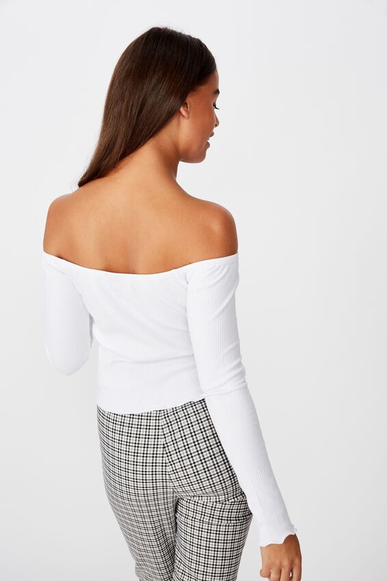 Ls Off Shoulder Top, WHITE