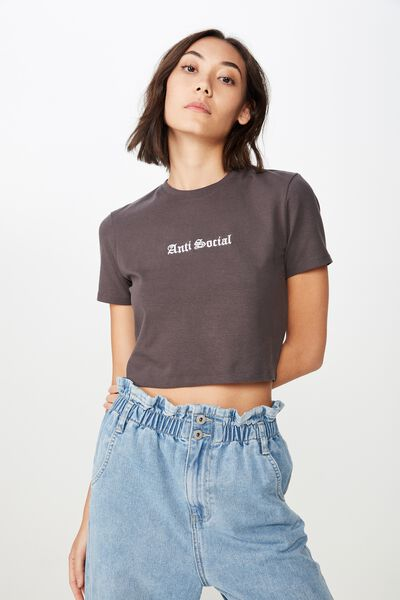 Fitted Graphic T Shirt, ASPHALT/ANTI SOCIAL
