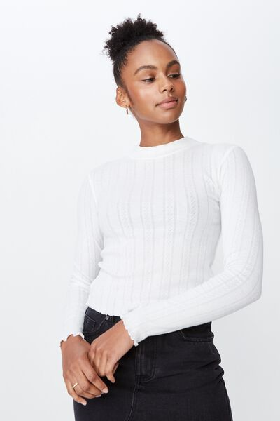 Ls Pointelle Lettuce Edge Funnel Neck, WHITE