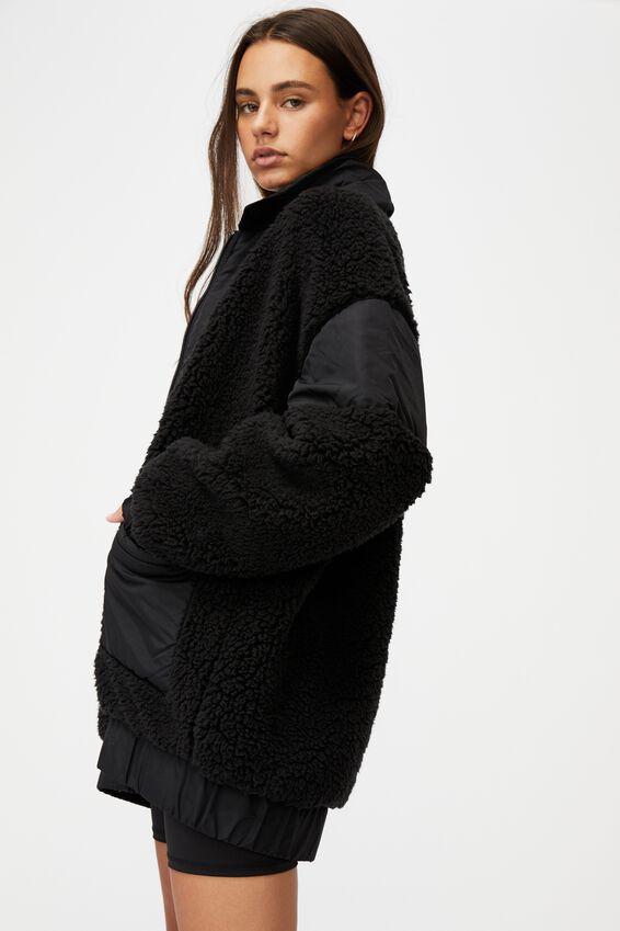 Oversized Teddy Jacket, BLACK
