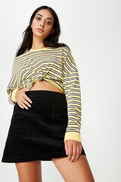 Cord Skirt, BLACK