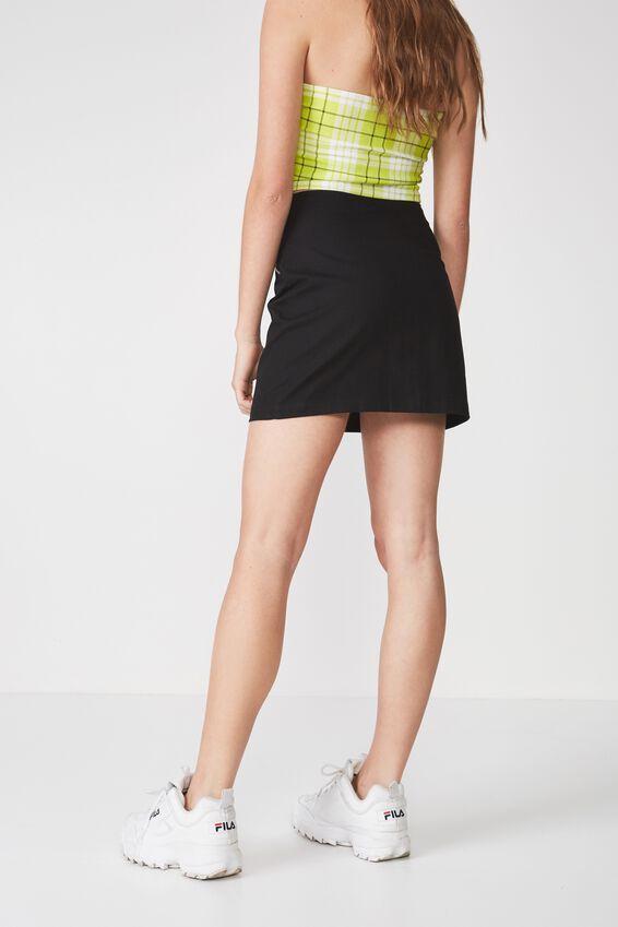 Zip Front A Line Skirt, BLACK
