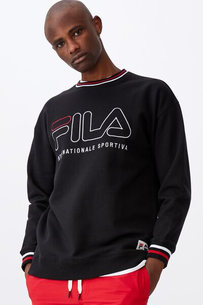 Fila Lcn Oversized Embroidered Crew, BLACK/SPORT