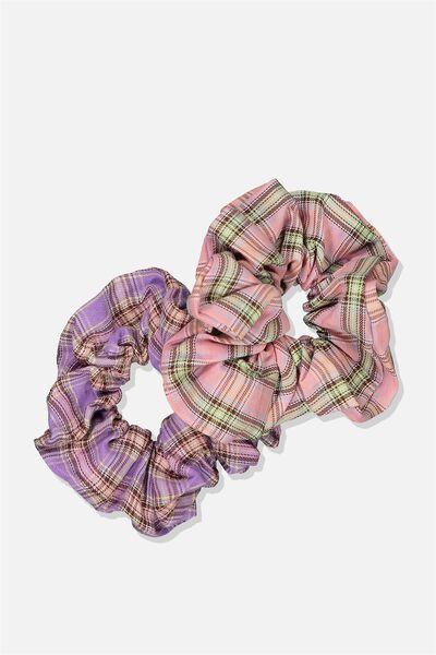 Large Scrunchie 2Pk, PNK CHK_MAUVE CHK