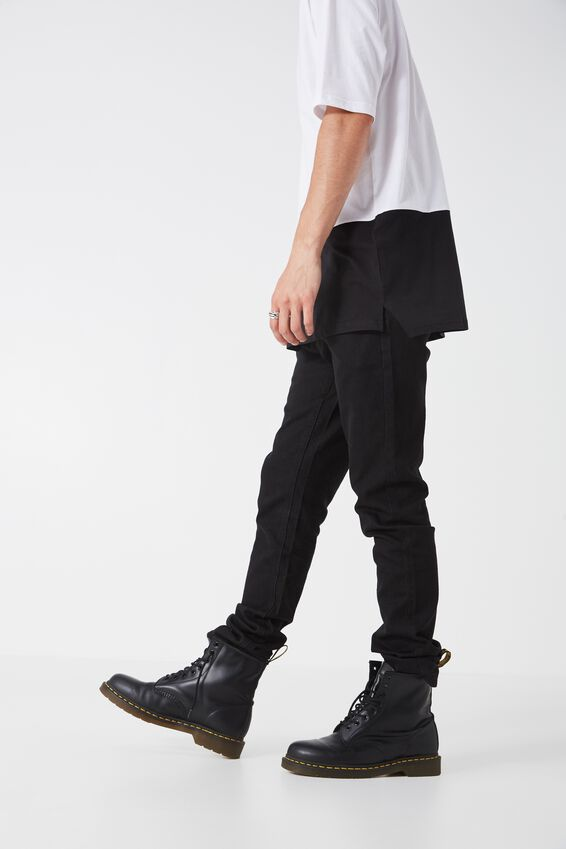 Slim Straight Denim Jeans, TRUE BLACK