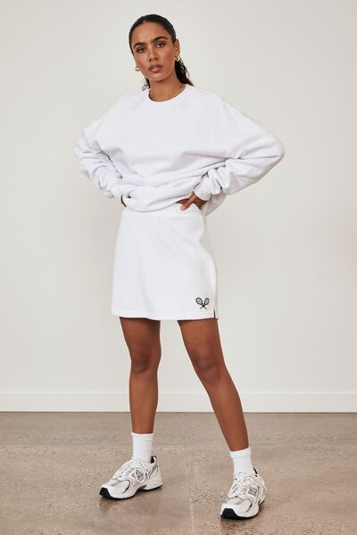 Terry Towelling A Line Mini Skirt, WHITE