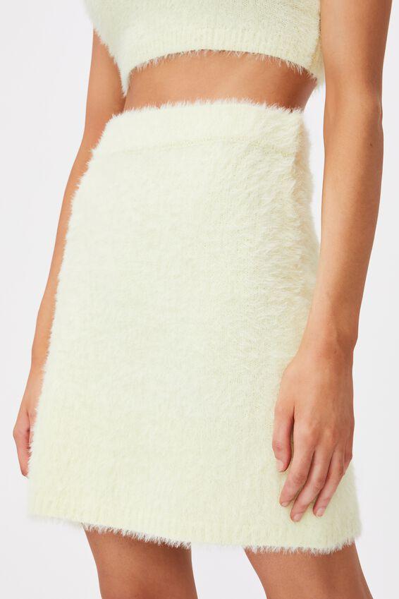 Fluffy Knit Mini Skirt, LIME CREAM