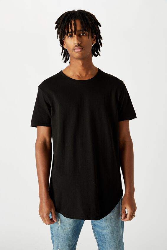 Curved T Shirt, BLACK