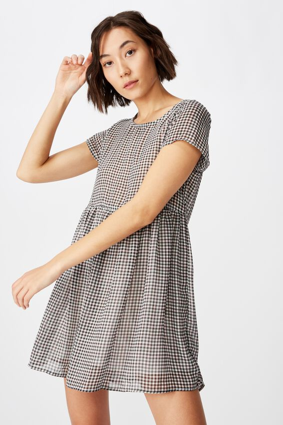 Babydoll Dress, MEADOW CHECK
