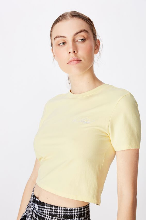 Fitted Graphic T Shirt, PASTEL YELLOW/NO ANGEL