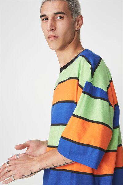 Bold Stripe T Shirt, BLUE/GREEN/ORANGE MULTI STRIPE