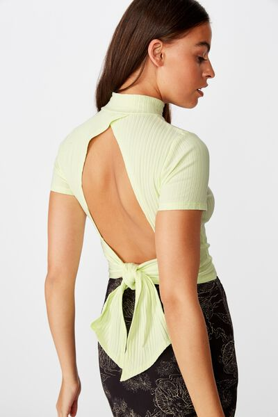 Ss Back Detail Top, LIME CREAM